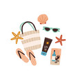 beach bag or purse with sunglasses flip-flops vector image