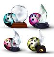 bowling game award set bowling ball glass vector image vector image