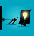 businessman trying to unplug the light bulb brain vector image