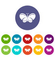 butterfly icons set color vector image
