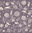 cartoon hand-drawn space planets seamless pattern vector image vector image