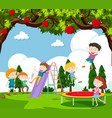 children playing slide and bouncing on trampoline vector image vector image
