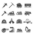 coal industry mine bold black silhouette icons vector image vector image