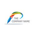 colorful pen logo vector image vector image