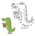 Connect the dots to draw the cute alligator and co vector image vector image