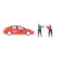electro green car customer buy auto man character vector image