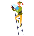 elf with list standing on ladder xmas character vector image