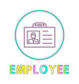 employee name badge circle icon line art vector image