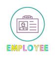 employee name badge circle icon line art vector image