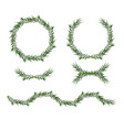 Eucalyptus green wreath decorative elements set
