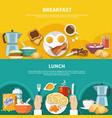 flat breakfast banners set vector image vector image