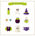 Flat Magic Halloween Witch Objects Set vector image vector image