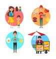 flat street food desserts or fastfood drink vector image