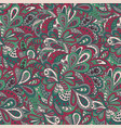 floral doodle seamless background green and vector image