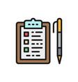 folder tablet with pen checklist flat color icon vector image vector image