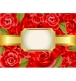 Frame on a red roses background vector image