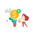 girl watering a flower dollars are growing icon vector image vector image