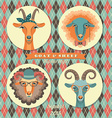 goat and sheep symbol 2015 hipster s vector image vector image