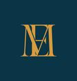 gold color em or me initial letter logo vector image vector image