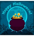 Happy halloween greeting card with pot of potion vector image