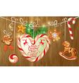 Holiday greeting Card with xmas gingerbread vector image