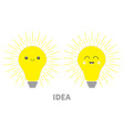 idea light bulb icon set with happy smiling face vector image vector image