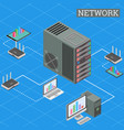 isometric networking conncetion internet network vector image vector image