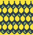 lemons seamless pattern background black vector image