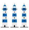 lighthouse in blue and white color set vector image