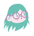 little girl face cartoon character isolated icon vector image vector image