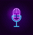 live microphone neon sign vector image vector image
