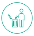 Man throwing garbage in a bin line icon vector image vector image