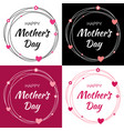 mothers day card lettering set with heart circle vector image vector image