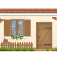 old facade wall window and wooden door vector image vector image
