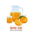 orange juice in a jug and a glass vector image