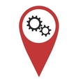 Red geo pin with gear wheels vector image