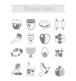 Rosh Hashanah Shana Tova Jewish New year icon set vector image