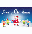 santa claus and childen seng gift merry christmas vector image vector image