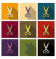 scissors open on background flat design vector image