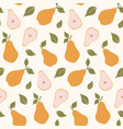 seamless pattern with yellow pears summer fruit vector image
