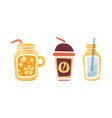 set non-alcoholic summer drinks coffee vector image