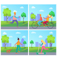 set of posters with people in summertime park vector image vector image