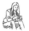 teenage girl sitting and play smartphone vector image