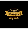 Thank you golden lettering design with glitter vector image vector image