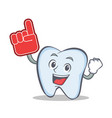 tooth character cartoon style with foam finger vector image