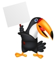 Toucan bird cartoon with blank sign vector image vector image