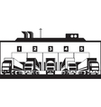 Trucks loading goods from warehouse vector image vector image