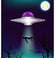 UFO abducts a man vector image