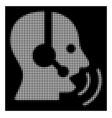 white halftone operator speech sound waves icon vector image