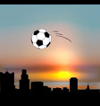 yekaterinburg skyline with football ball vector image vector image